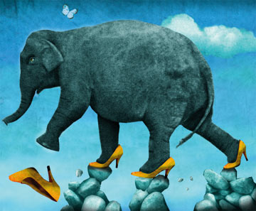 הליכה בזהירות פילים נעלי עקבIllustration M Morgenstern
