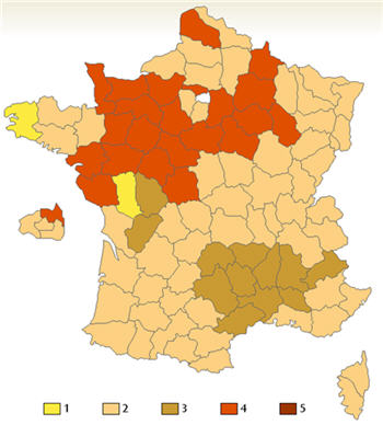 France kissing map